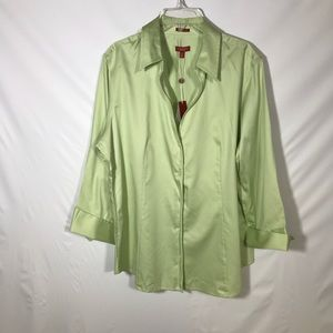 Talbots stretch elastic sateen button down blouse